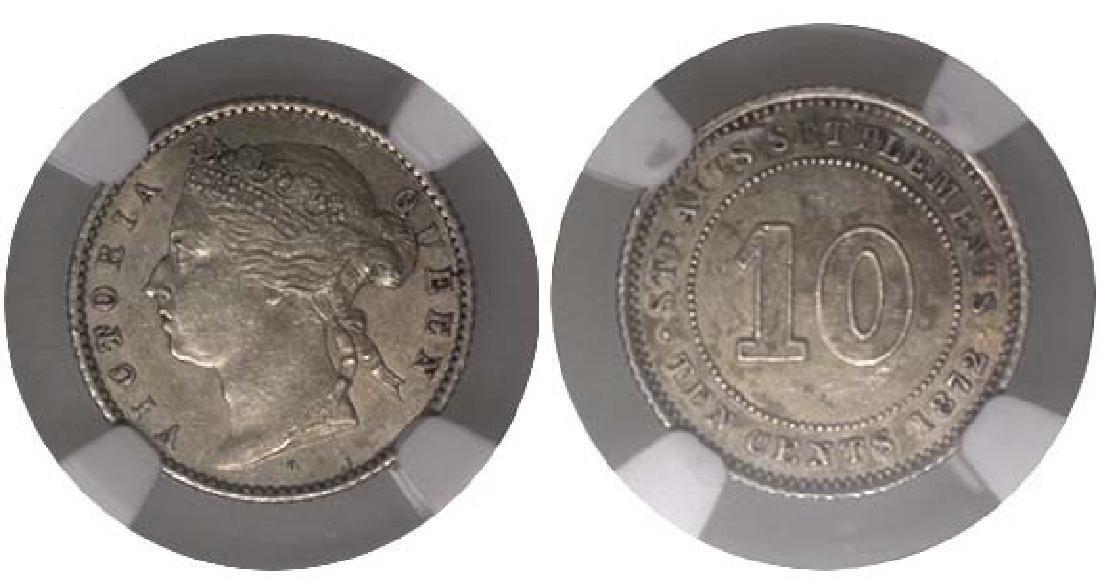 STRAITS SETTLEMENT 10-Cents 1872H