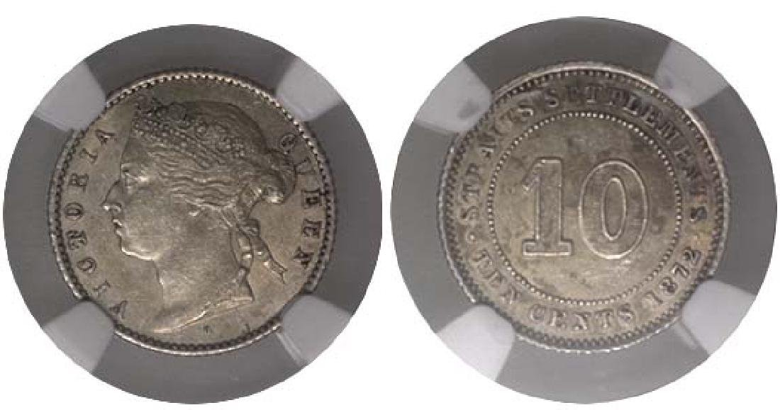 STRAITS SETTLEMENT 10-Cents 1872H