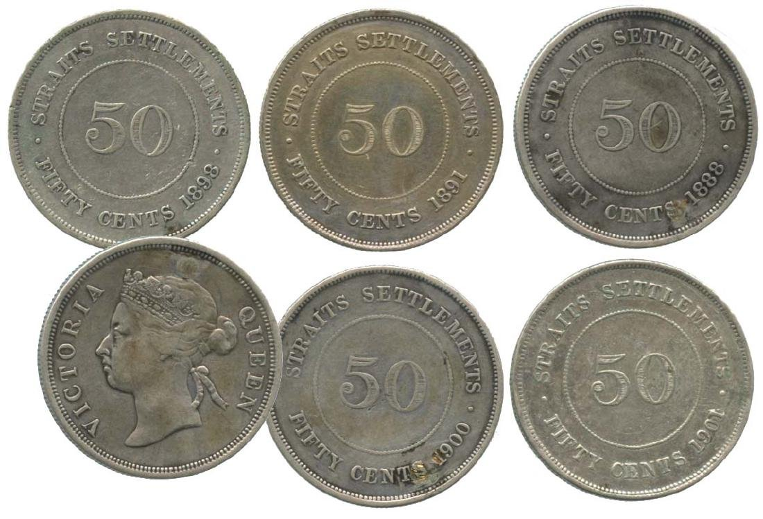 STRAITS SETTLEMENT  50-Cents. Various.  (5pcs)