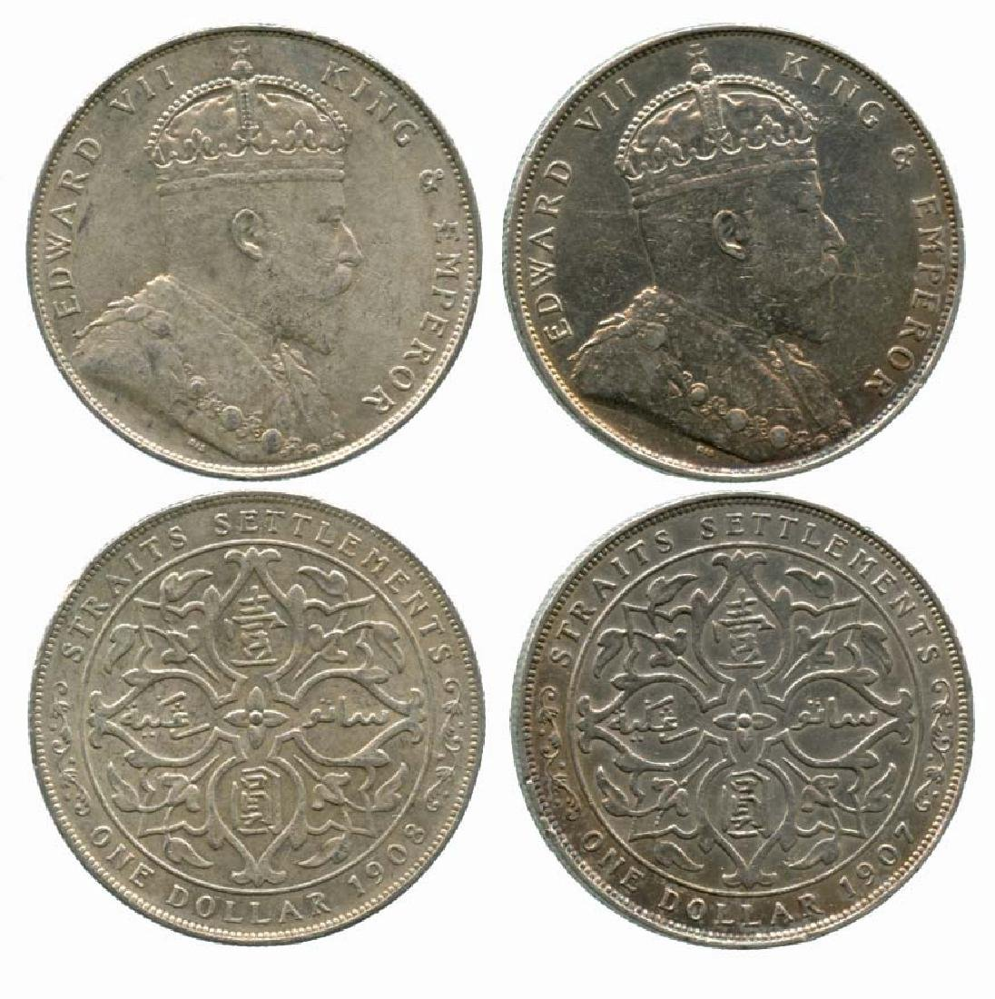 STRAITS SETTLEMENT Silver Dollar 1907 and 1908