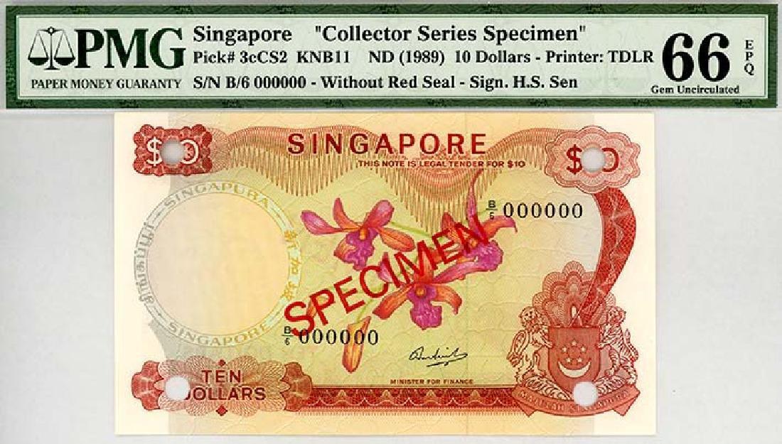 SINGAPORE $10 1967-76 Specimen s/n. B/6 000000