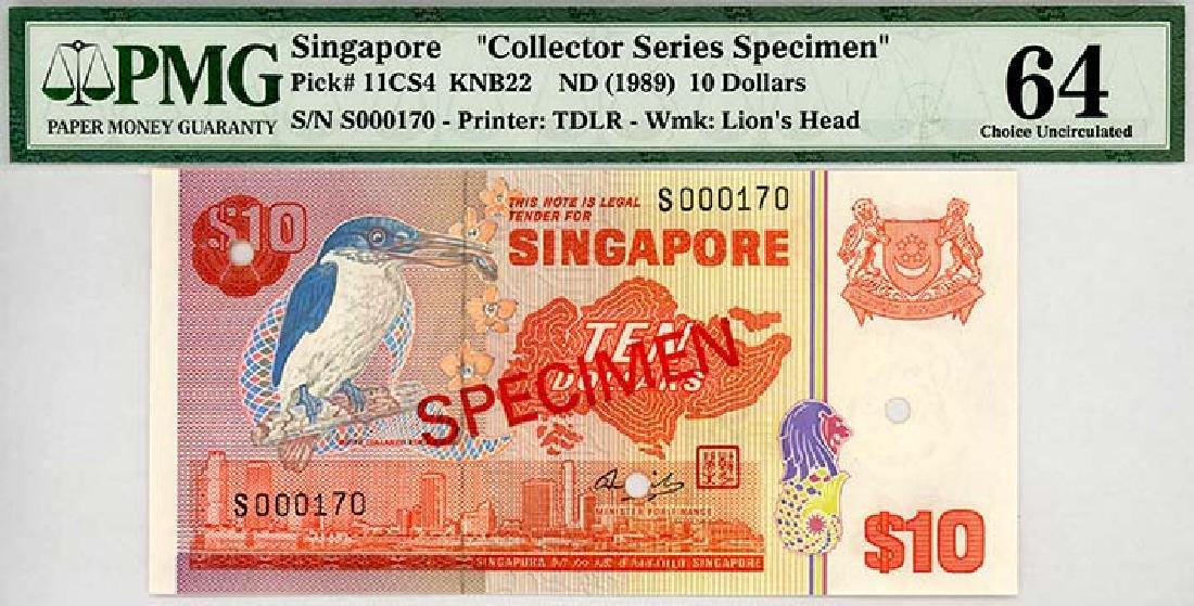 SINGAPORE $10 1989 Specimen s/n. S000170