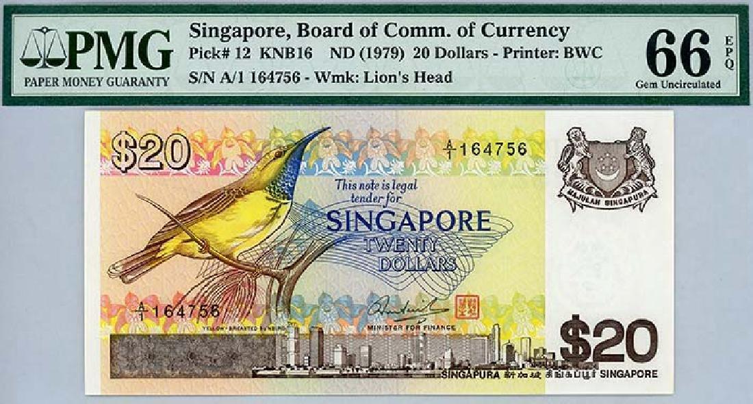 SINGAPORE $20 1979 , s/n. A/1 164756
