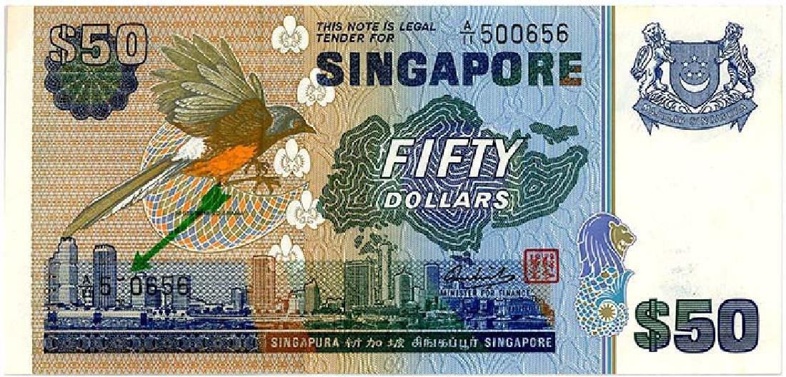 SINGAPORE $50 1976 s/n. A/11 500656