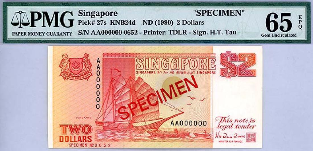 SINGAPORE $2 1990 Specimen no. 0652