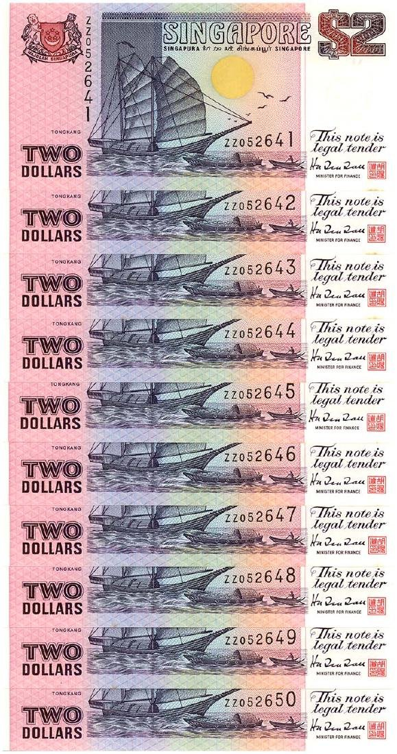 SINGAPORE $2 1997 no. ZZ052641-50 (10pcs)
