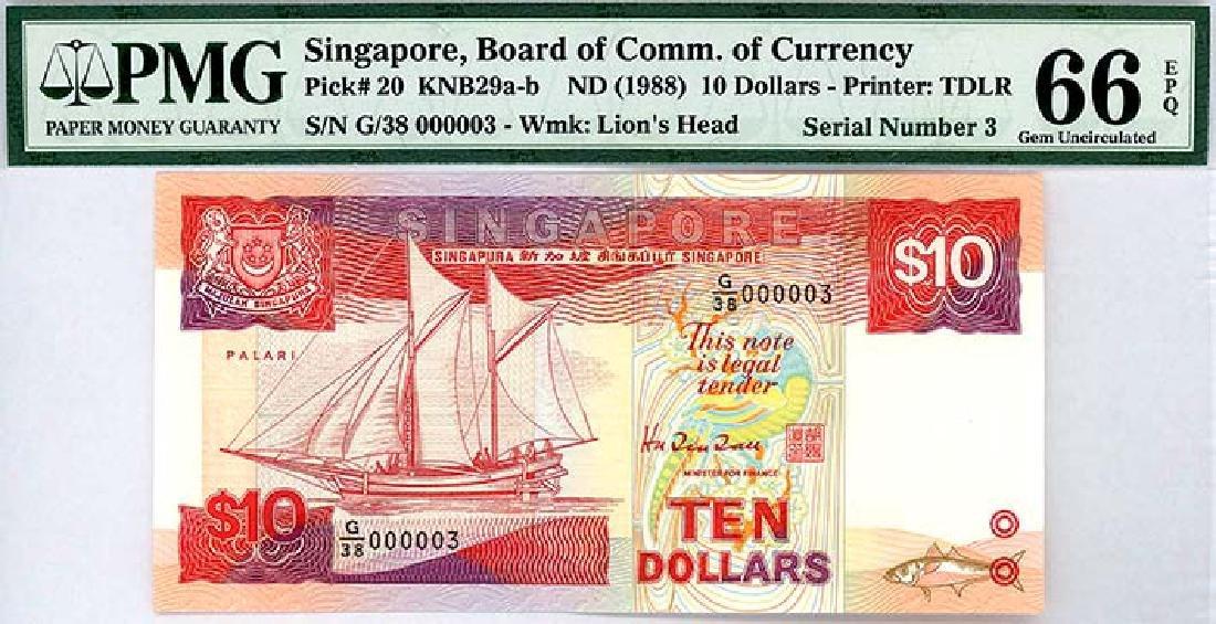 SINGAPORE $10 1988 no. G/38 000003