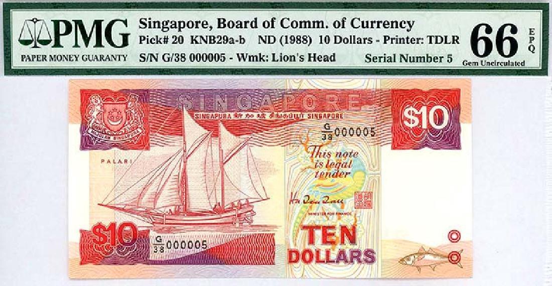 SINGAPORE  $10 1988  no. G/38 000005
