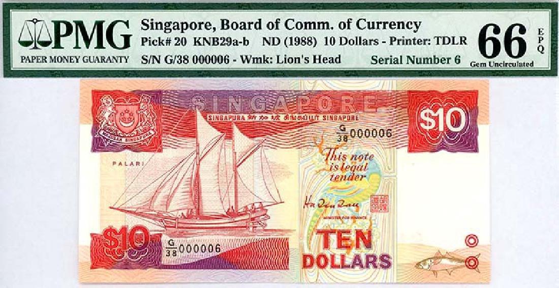 SINGAPORE $10 1988  no. G/38 000006