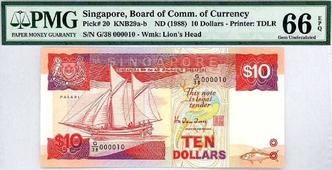 SINGAPORE $10 1988  no. G/38 000010