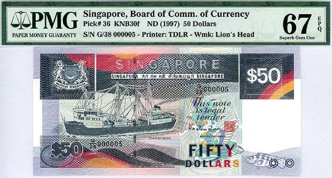 SINGAPORE  $50 1997  no. G/38 000005