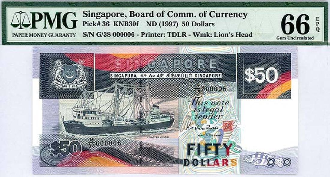 SINGAPORE $50 1997  no. G/38 000006