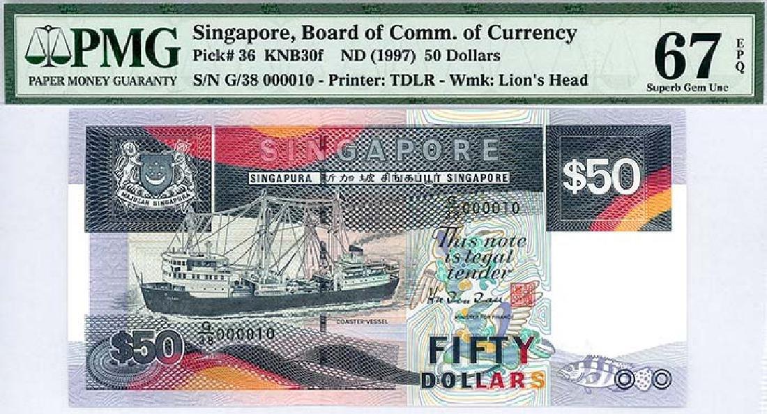 SINGAPORE  $50 1997  no. G/38 000010
