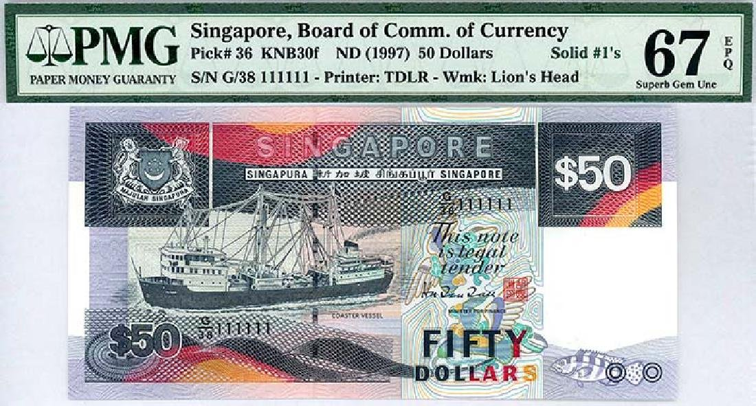 SINGAPORE  $50 1997  no. G/38 111111