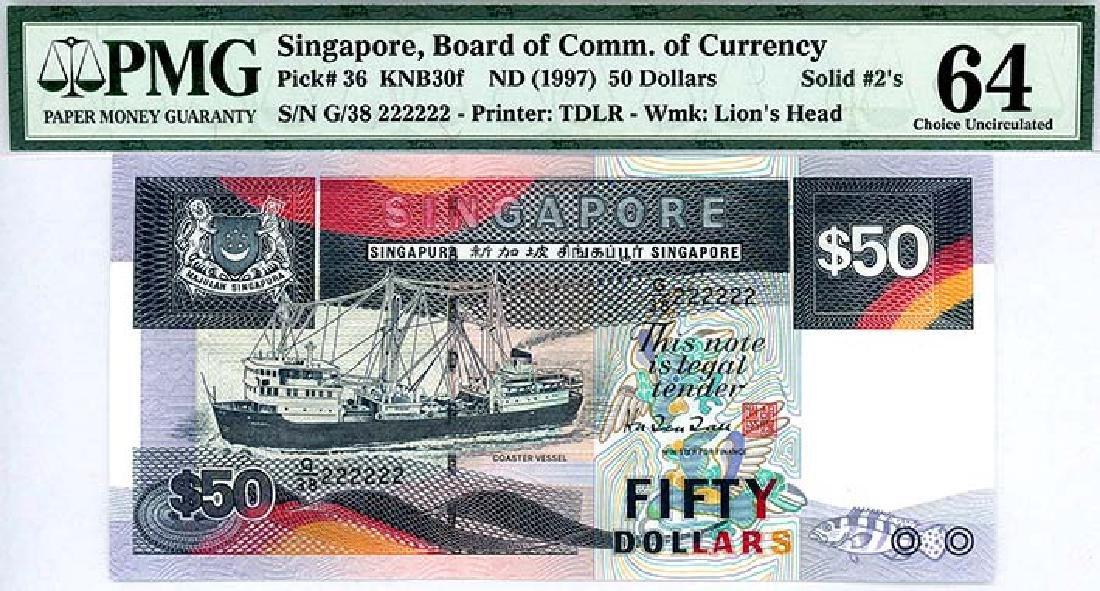 SINGAPORE  $50 1997  no. G/38 222222