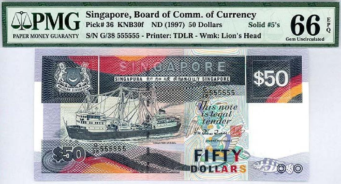SINGAPORE  $50 1997 Solid no. G/38 555555