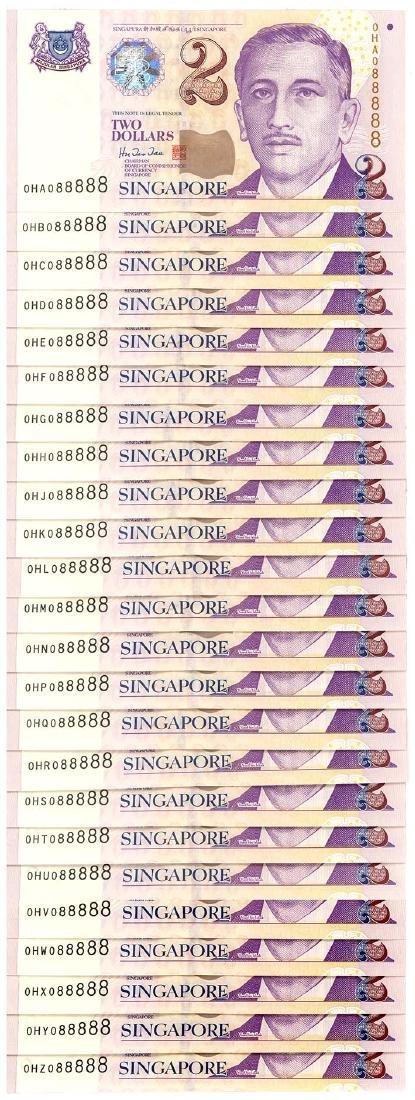SINGAPORE $2 1999 Set of 0HA-0HZ no. 088888    (24pcs)