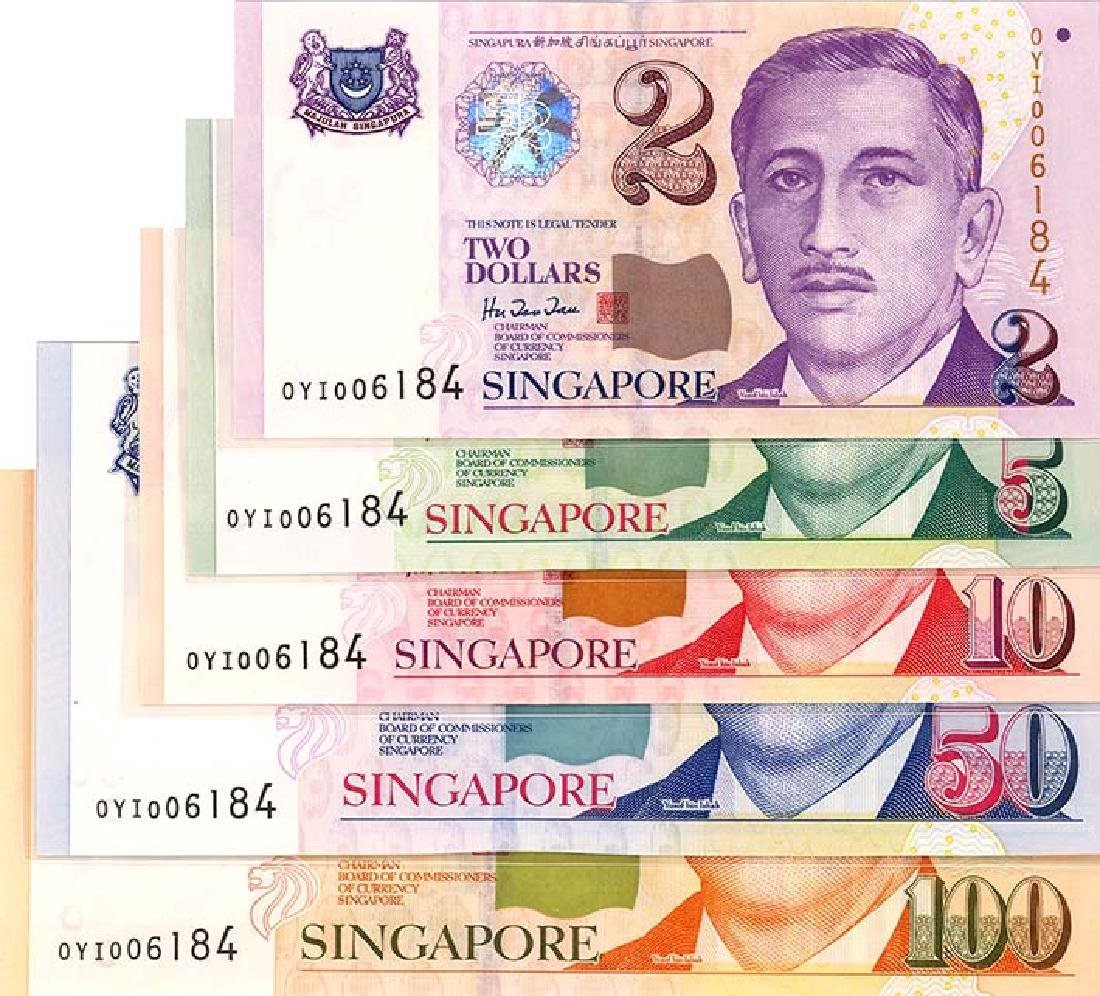 SINGAPORE   $2-, 5-, 10-, 50- & 100- 1999    (5pcs)