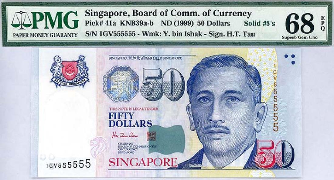 SINGAPORE $50 1999  no. 1GV555555