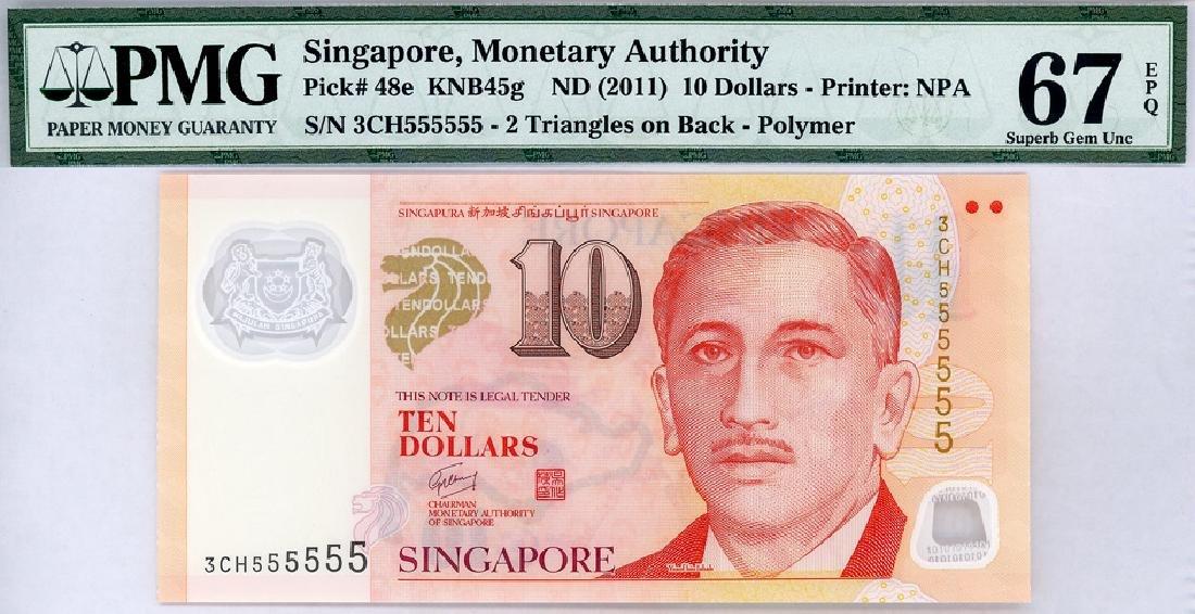 SINGAPORE $10 2011  no. 3CH555555