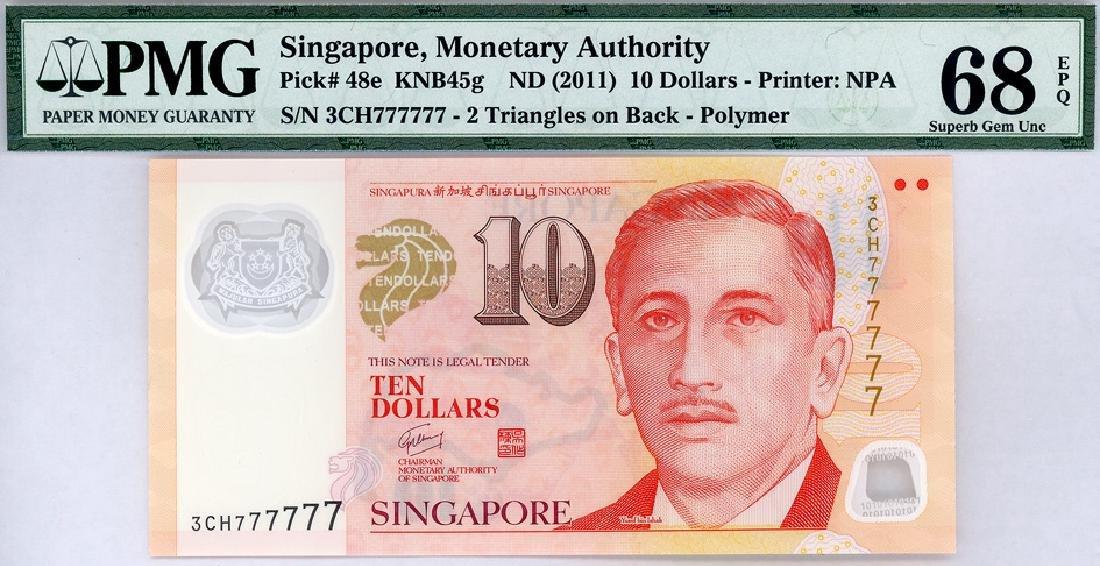SINGAPORE $10 2011  no. 3CH777777