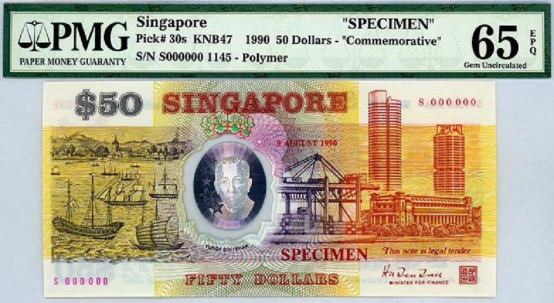 SINGAPORE $50 1990 25th Independence Specimen
