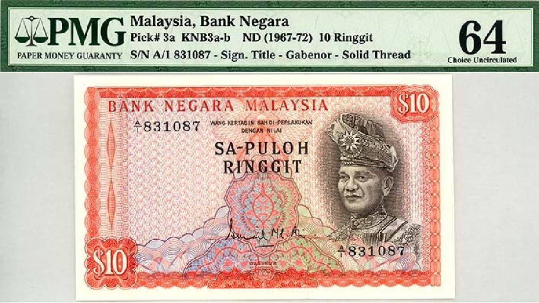 MALAYSIA RM10 1967-72 s/n. A/1 831087