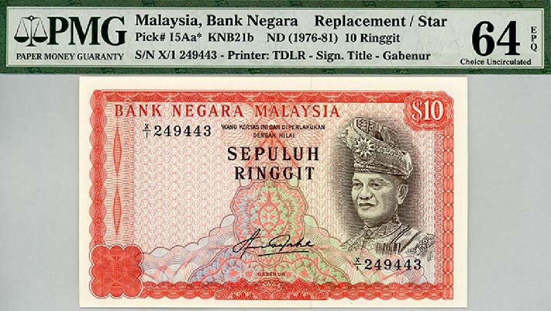 MALAYSIA  RM10 1976-81  s/n. X/1 249443
