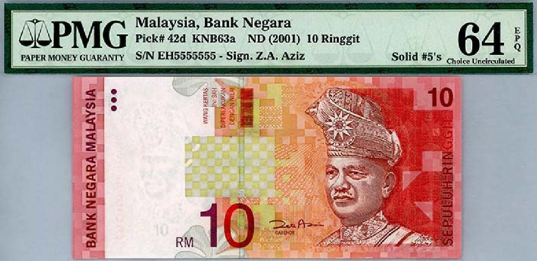 MALAYSIA RM10 2001  no. EH5555555