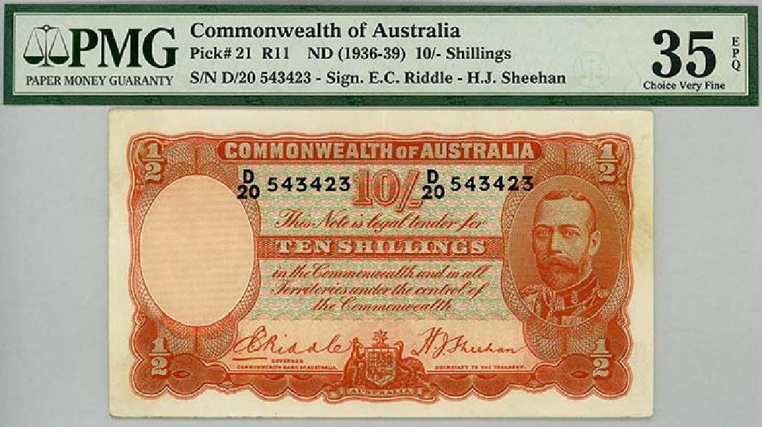 AUSTRALIA 10-Shillings 1936-39 s/n. D/20 543423