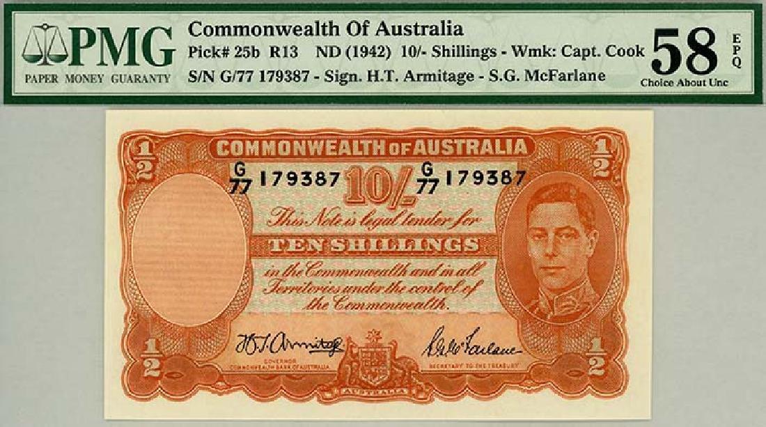 AUSTRALIA 10-Shillings 1942 s/n. G/77 179387