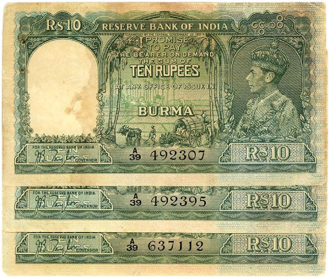 BURMA  10-Rupees 1938   (4pcs)