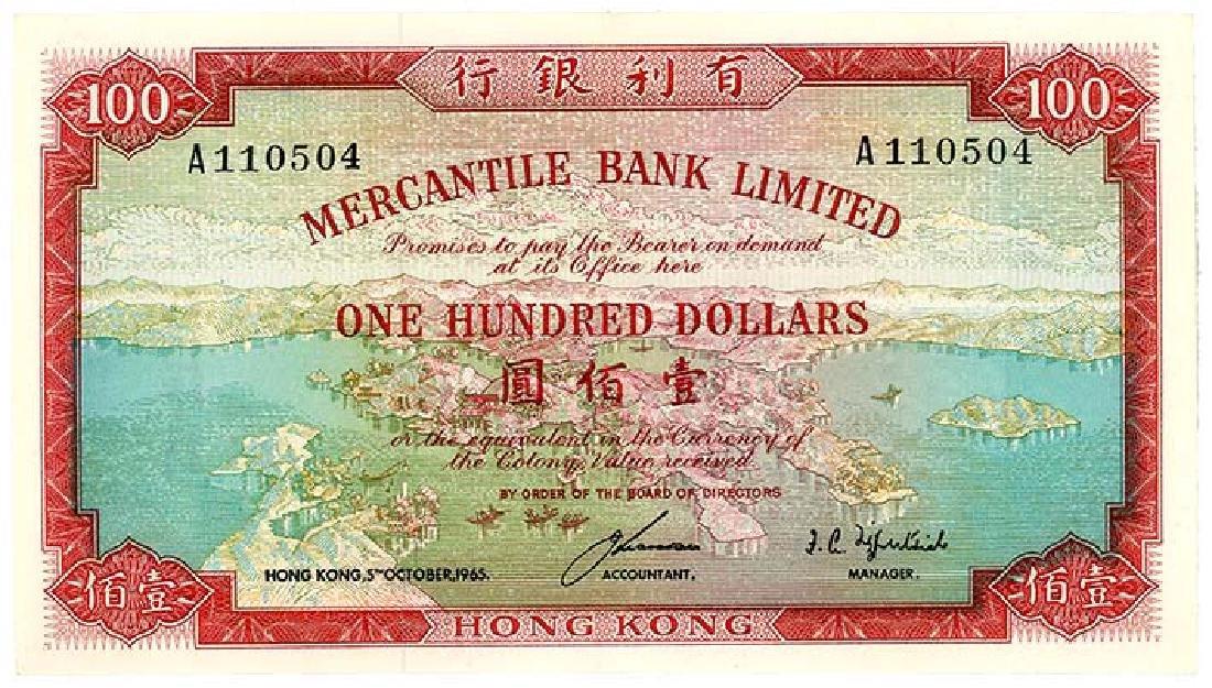 HONG KONG   $100 1965   s/n. A110504