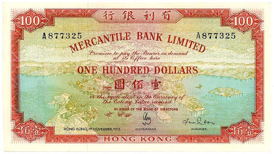 HONG KONG  $100 1973   s/n. A877325