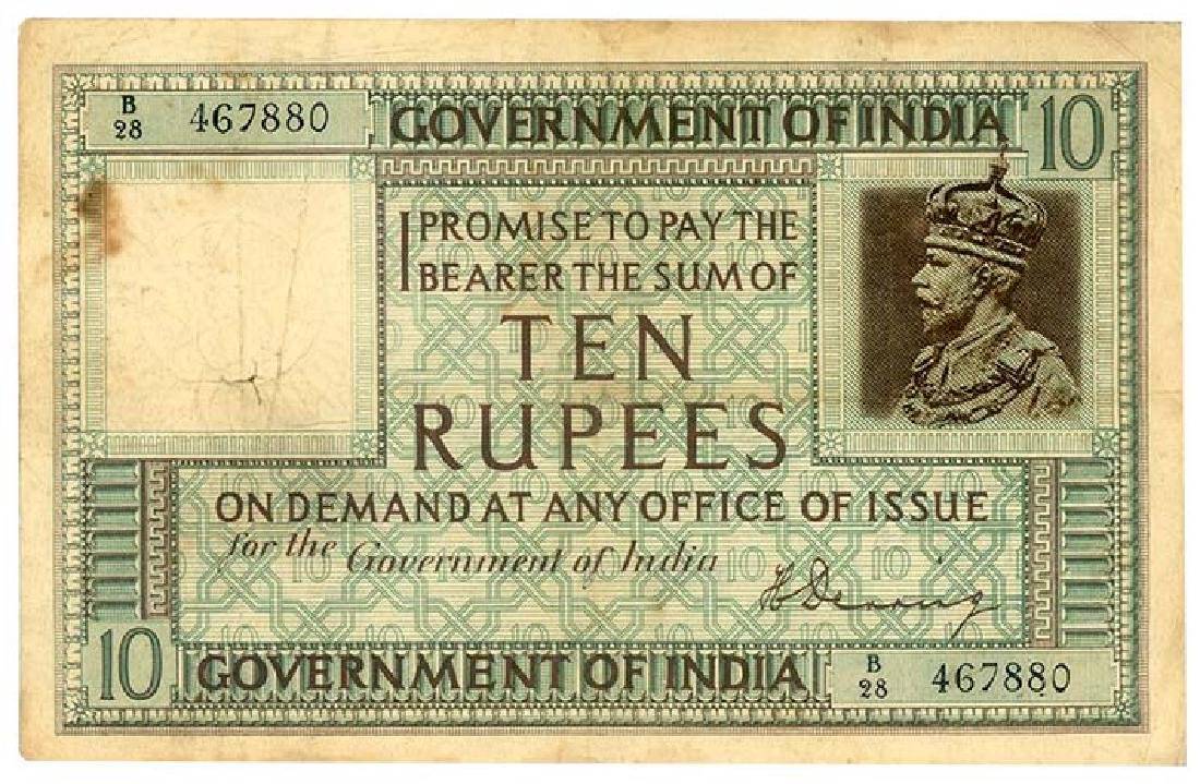 INDIA  10-Rupees 1928 s/n. B/28 467880