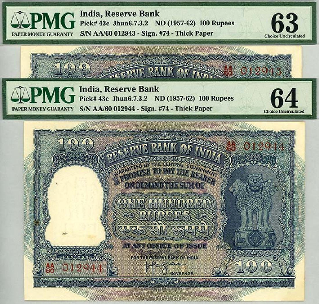 INDIA 1957-62 Consecutive pair no. AA/60 012943-44