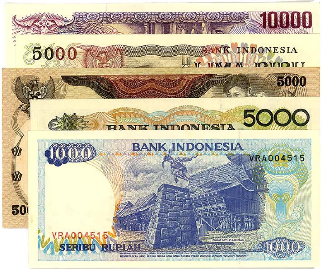 INDONESIA 1,000-, 5,000- & 10,000-Rupiah  (5pcs)