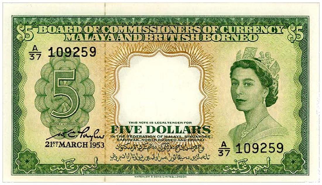 MALAYA & BRITISH BORNEO $5 1953 s/n. A/37 109259