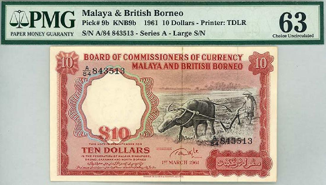 MALAYA & BRITISH BORNEO $10 1961 Big A/84 843513