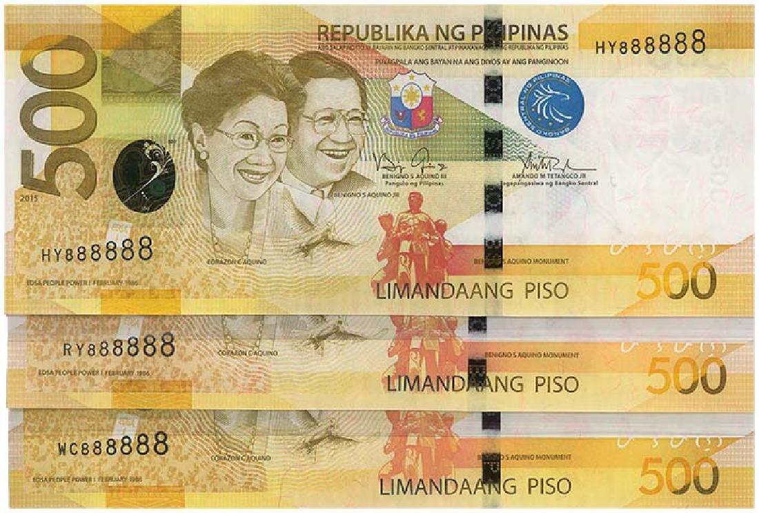 PHILIPPINES 500-Piso 2013, 2014, 2015 no. 888888  3pcs