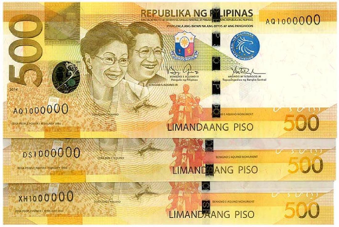 PHILIPPINES 500-Piso 2013-15  s/n. 1000000 (3pcs)
