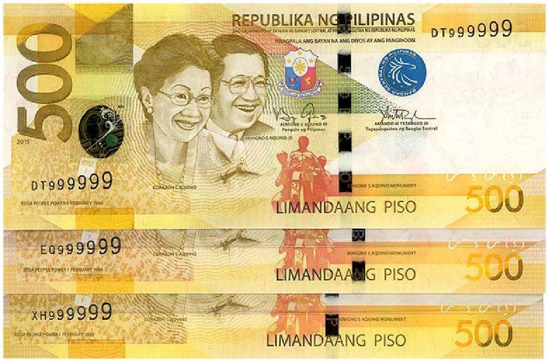PHILIPPINES  500-Piso 2013-15  s/n. 999999  (3pcs)