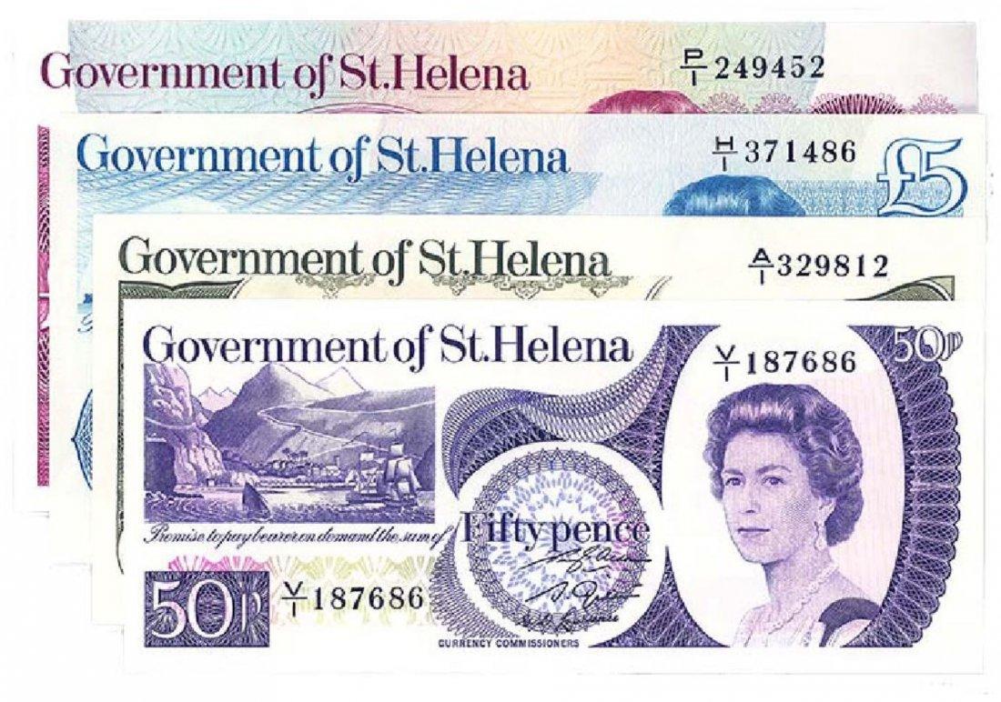 ST HELENA  50-Pence, 1-, 5-, 10-Pounds 1976-79  4pcs