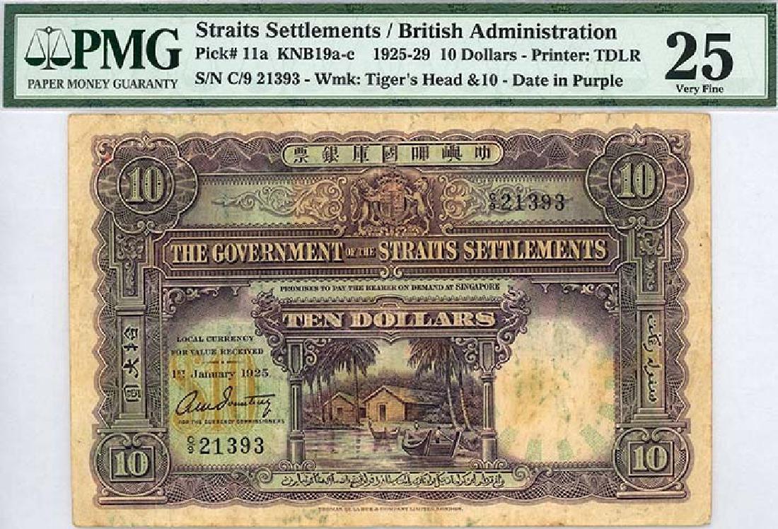 STRAITS SETTLEMENTS $10 1925 s/n. C/9 21393
