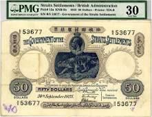 STRAITS SETTLEMENTS $50 1925 s/n. B/5 53677