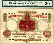 STRAITS SETTLEMENTS $100 1925 s/n. B/4 16595