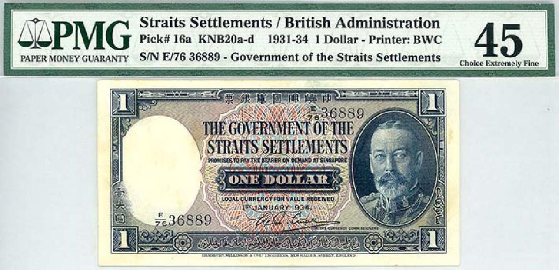 STRAITS SETTLEMENTS $1 1934 s/n. E/76 36889