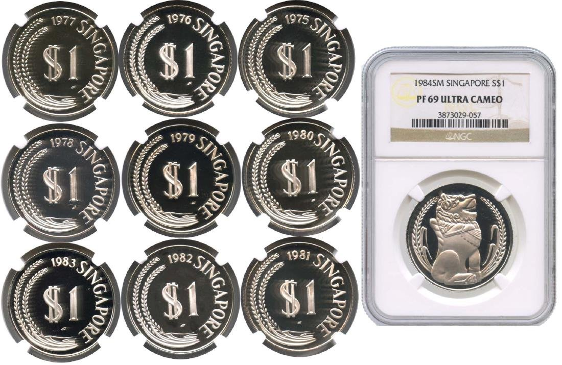 SINGAPORE Silver: Proof Merlion $1 1975-1984