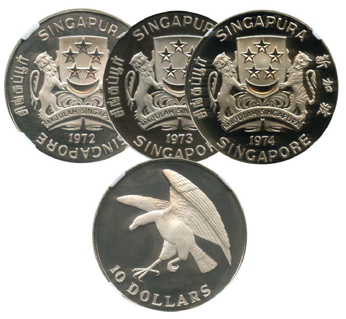 SINGAPORE Silver: Proof Eagle 1972-73-74