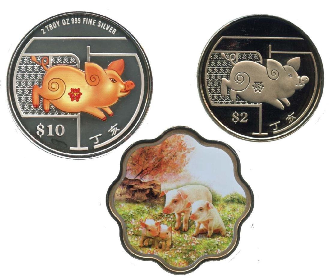 SINGAPORE Lunar Series: Cu-Ni & Silver $2 & $10
